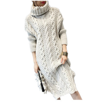 Women Winter Knitted Warm Sweater Dress