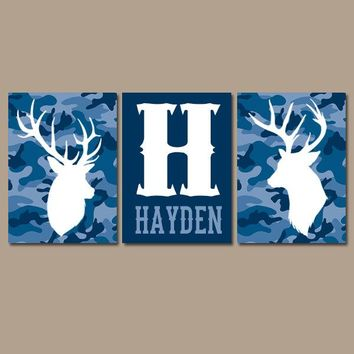CAMO DEER Wall Art, Camo Nursery Art, Canvas or Prints, Baby Boy Name Antlers, Rustic Nursery Wall Decor, Big Boy Bedroom, Set of 3 Navy