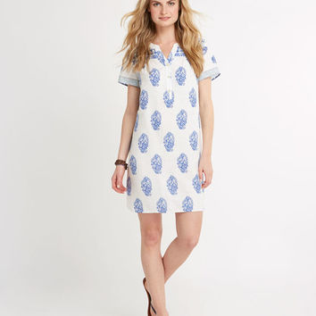 Shell Fleur Border Print Tunic Dress