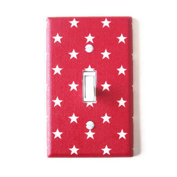Patriotic Americana Stars Single Toggle Switch Plate, wall decor