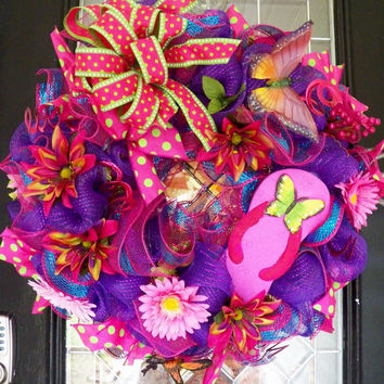 Flip Flop Summer Wreath, Deco Mesh Wreath, Door Hanger, Summer Decoration, Front Door Wreath, Butterfly