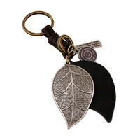 Creative Gift New Arrival Functional Hot Sale Trendy Great Deal Korean Punk Accessory Alloy Leaf Leather Vintage Men Keychain [6058343809]
