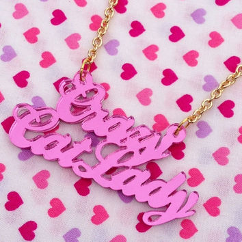 Pink CRAZY CAT LADY Necklace
