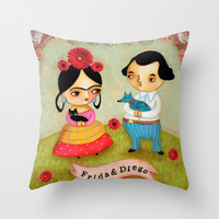 Frida & Diego painting Throw Pillow by tascha