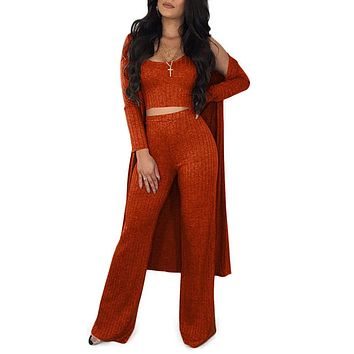 Akmipoem Women's Ribbed Autumn 3 Piece Outfit Vest Tank Top and Flared Bottom Pants with Long Cardigan
