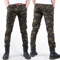 free shipping  Casual Military  men pants  2014 Camouflage Men Slim Elastic Outdoor Overalls Army Skinny Pencil pants