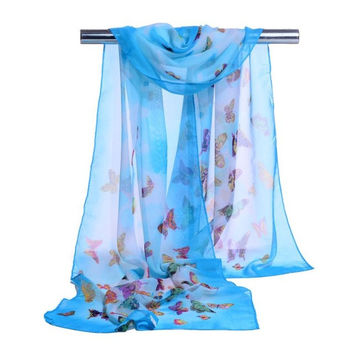 New Fashion  Women Chiffon Scarf Ladies Butterfly Print 7 Colors Scarves Warp shawl female bufanda mujer echarpe #1201 GS