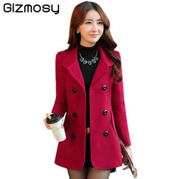Double-Breasted Button Lapel Pocket Wool Coat