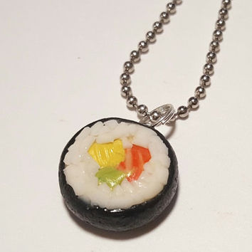 Sushi Roll Necklace, Polymer Clay Food Jewelry, Japanese Food Accessories
