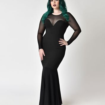 Collectif Plus Size Black Fishtail Morticia Wiggle Gown