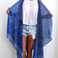 Cobalt Blue Mini Leaf Print Kimono - Cobalt Beach Dress or Sarong, Long Cape Kimono Jacket - Sleeveless Robe, Free Size - Festival Jacket