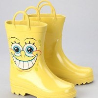 Nickelodeon Spongebob Squarepants Boy's Yellow Rain Boots - Size 7-8 Toddler