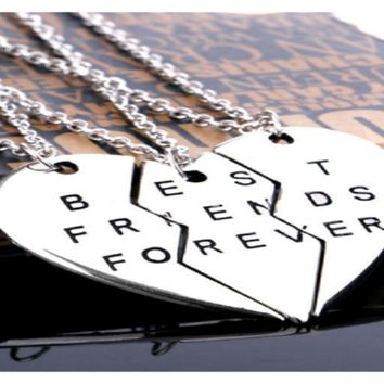 "Friendship Vintage Sliver Broken Heart Parts 3 Best Friends Forever "" Necklaces & Pendants"