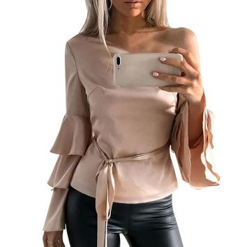 Women Blouse One Cold Shoulder Tops Butterfly Sleeve Off Shoulder Long Sleeve Shirt