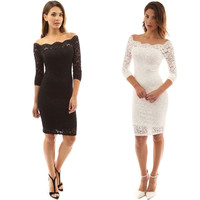 Sexy Long Sleeve Off Shoulder Bodycon Lace Short Dress
