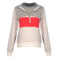 Color Back Girl Striped Zip Top