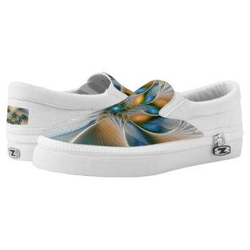 Soaring, Abstract Fantasy Fractal Art With Blue Slip-On Sneakers