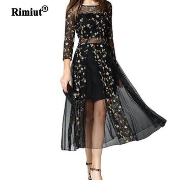 Rimiut Mexican Dress Women Spring Summer Embroidered Mesh Long Dress Boho People High Quality Designer Net Yarn Dress