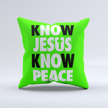 Know Jesus Know Peace - White and Black Over Lime Green  Ink-Fuzed Decorative Throw Pillow