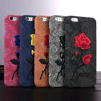 For iPhone 6 6S  Chic Rose Embroidery Retro Case For iPhone 7 6 6S Plus Hard Art Handmade Flower Cover Elegant Phone Cover Bags