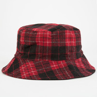 Plaid Reversible Womens Bucket Hat Red/Black One Size For Women 24980232901
