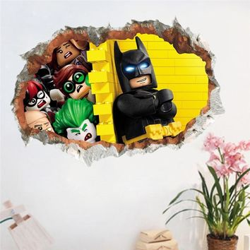 Batman Dark Knight gift Christmas Funny Batman 3D Smashed Wall Sticker For Kids Boy Bedroom Nursery Poster Mural Decorative Home Decor Decal Mural AT_71_6