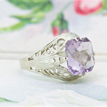 Antique Engagement Ring | Art Deco Ring | Amethyst Ring | Ostby Barton Ring | 14k White Gold Ring | Stunning Filigree Ring | Size 3.5