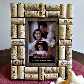 "Rustic Brown Wine Cork Picture Frame - 4"" x 6"" Photo Opening - Wedding, Vacation, Birthday, Anniversary, Family"