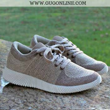 Amber Metallic Lace Up Sneakers in Beige
