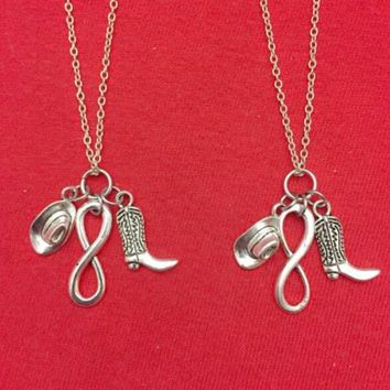 Vintage Silver Hat &Infinity Cowboy Shoes Necklaces Pendant Charms Collar Statement Choker Necklaces Women Jewelry Gift HOT B419