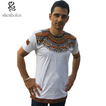 2016 mens african clothing ankara style cotton stitching wax printing tops man T shirt dashiki clothes kitenge Nigerian style