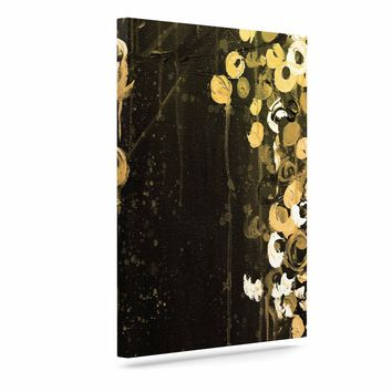 "Ebi Emporium ""THE DARK GARDEN 1"" Gold Black Abstract Floral Painting Mixed Media Art Canvas"