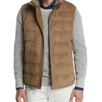 Loro Piana New Cortina Quilted Suede Vest, Brown