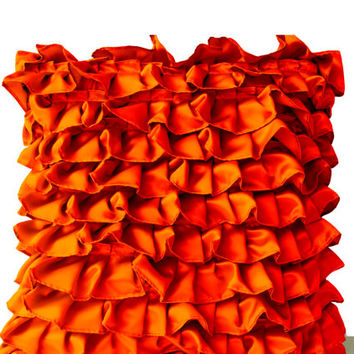 Orange Pillow Covers -Orange Satin with Ruffles- Decorative cushion covers -Ruffle throw pillows -Ruffle throw cushion -Gift pillow -18x18