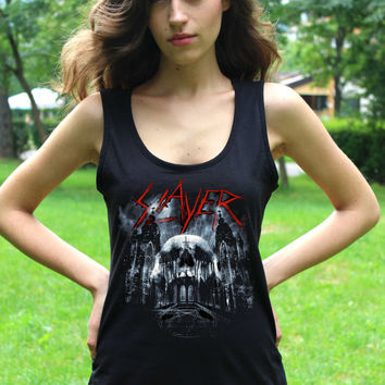 Slayer Tank Top Band Slayer Tee Rock Sleeveless Shirt Thrash Heavy Metal Women Tshirt Lady Tank Tops Lady Fit Vest Crop Top T Shirt
