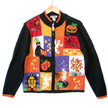 Happy Face Tree Tacky Halloween Ugly Sweater - The Ugly Sweater Shop