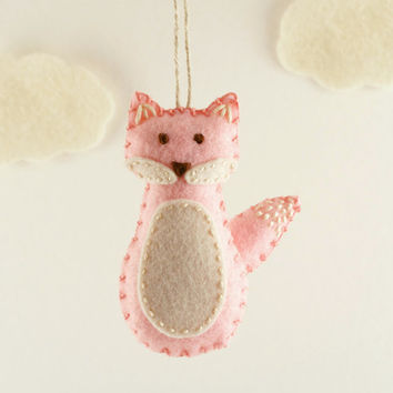 Pink Fox Felt Ornament, Baby's First Christmas, Baby Girl, New Baby Gift, Forest Animal, Woodland Nursery, Holiday Gift for Girl