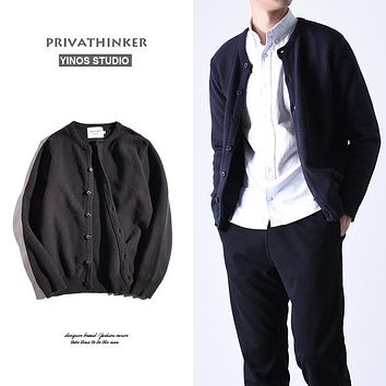 Privathinker 2017 Fashion Wool Cardigan Mens Sweater Casual Geometric Coat Male Long Sleeve Button Kit Cardigan Steater Autumn