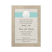 Sand Dollar Beach Wedding Invitation - Turquoise from Zazzle.com
