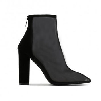 CINTHIA MESH FRONT ANKLE BOOTS IN BLACK FAUX SUEDE