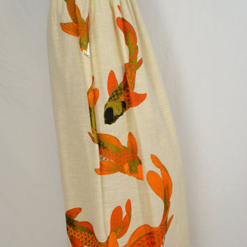 Vintage 60s Alfred Shaheen Fabric Maxi Skirt Cream Colored with Unique Orange Fish Print