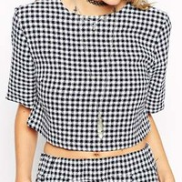 ASOS Reclaimed Vintage CO-ORD Crop Top in Textured Gingham