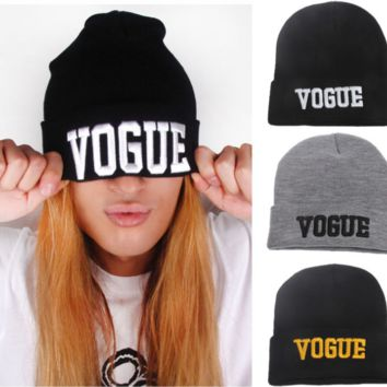 Winter Unisex Couples Vogue Embroidery knitted Beanies Hat