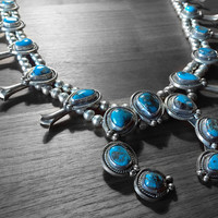 Vintage Blue Turquoise Native American Squash Blossom Necklace, Large Squash Blossom Naja Necklace in 925 Sterling Silver, High Quality