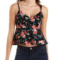 Floral Print Peplum Tank Top by Charlotte Russe