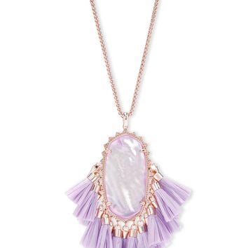 Kendra Scott: Betsy Rose Gold Long Pendant Necklace In Lilac Mother Of Pearl