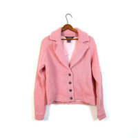 vintage mohair sweater coat button up pink wool cropped cardigan sweater jacket modern lined wool blazer coat Medium