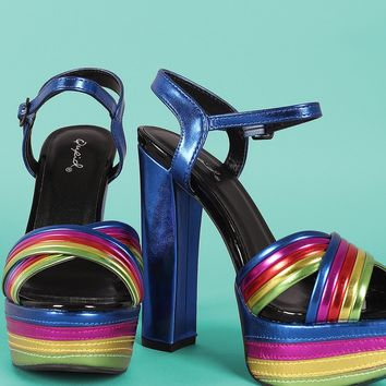 Qupid Mixed Media Stripe X Band Chunky Platform Heel