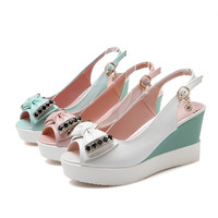 Summer Peep Toe Sandals Bow Wedges Platform High-heeled Shoes Woman