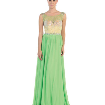 Green Jeweled Bodice Gown 2015 Prom Dresses